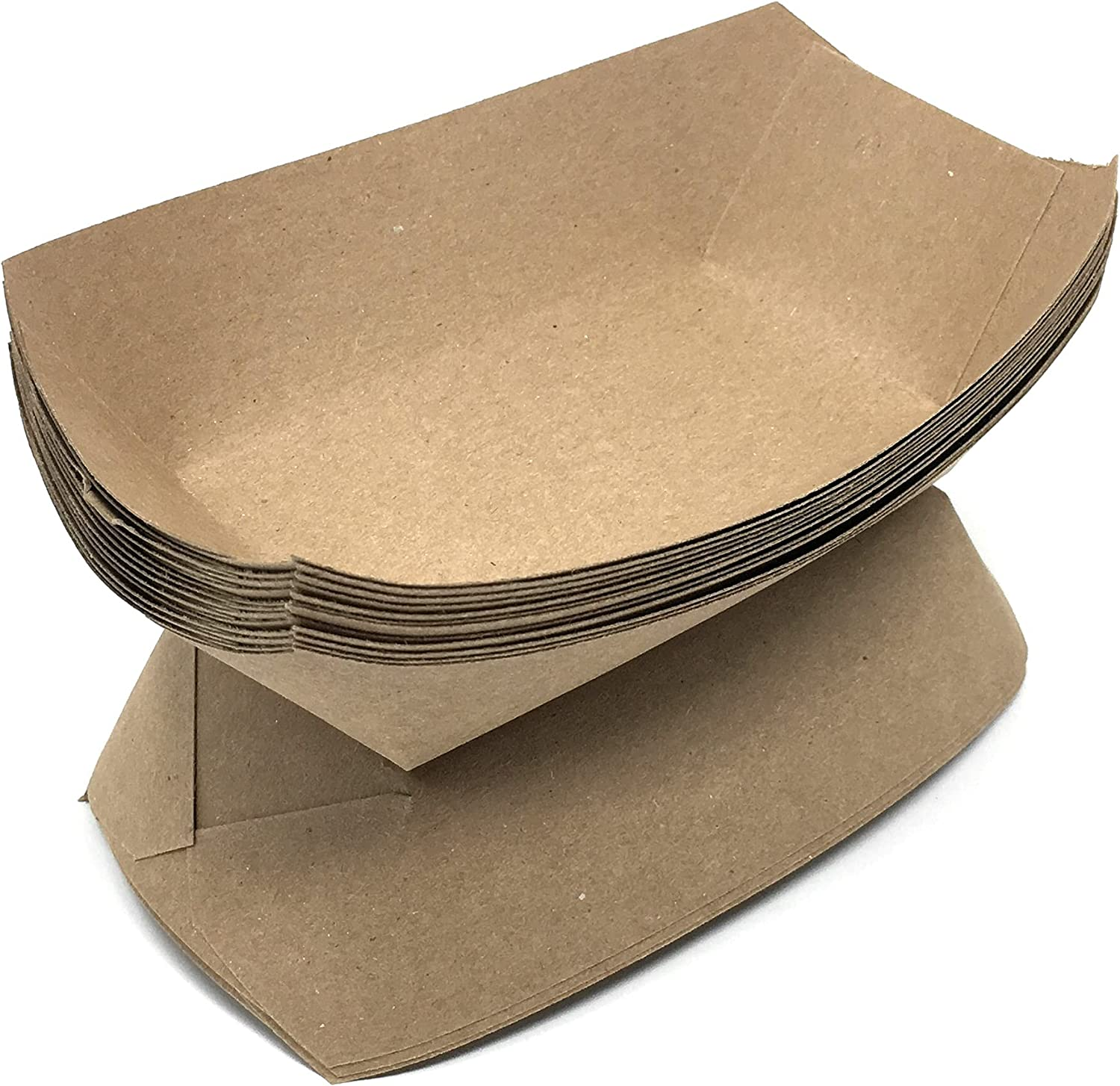 Mr. Miracle Kraft Paper Food Tray. 1/4 - Pound Size. Pack of 100. Disposable, Recyclable and Fully Biodegradable. Made in USA