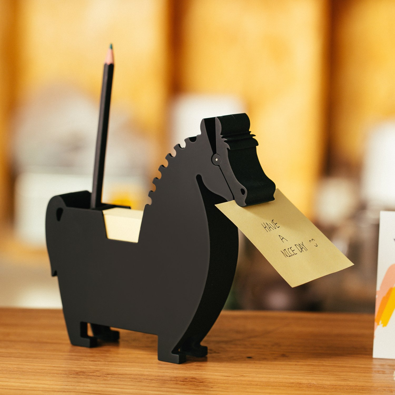 Memo Holder Desktop Note pad Dispenser Horse Pen Holder Multi-Functional Clip for Note Short Note pad,2 Packs Memo (Horse, Black)