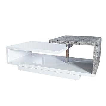Riess Ambiente Stylischer Design Couchtisch Concept 100cm Hochglanz Weiss Beton Optik Wohnzimmertisch