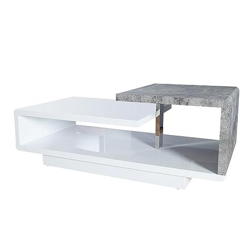 Stylischer Design Couchtisch Concept 100Cm Hochglanz Weiß Beton
