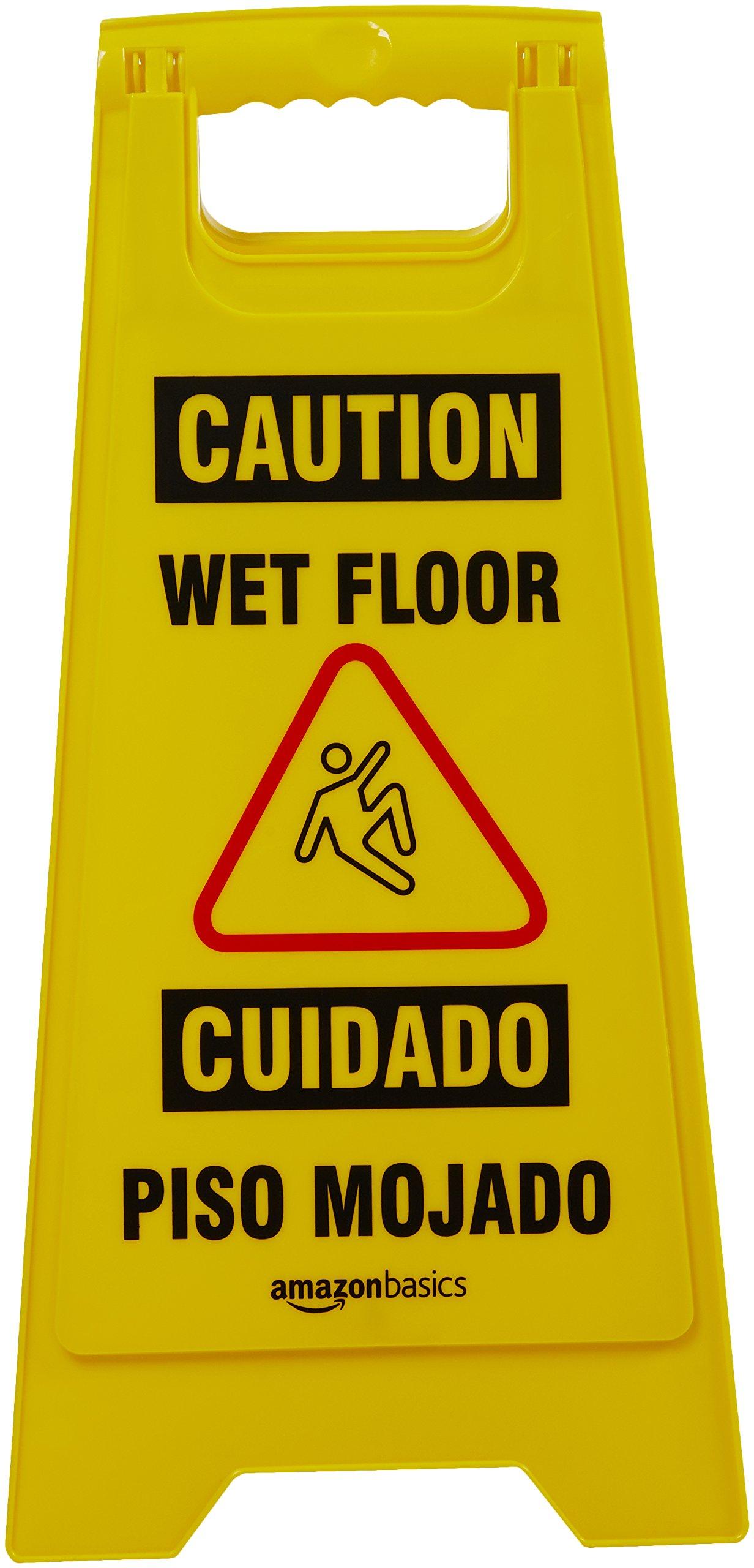 AmazonBasics 2-Sided Floor Safety Sign - Caution Wet Floor, Bilingual - 6-Pack