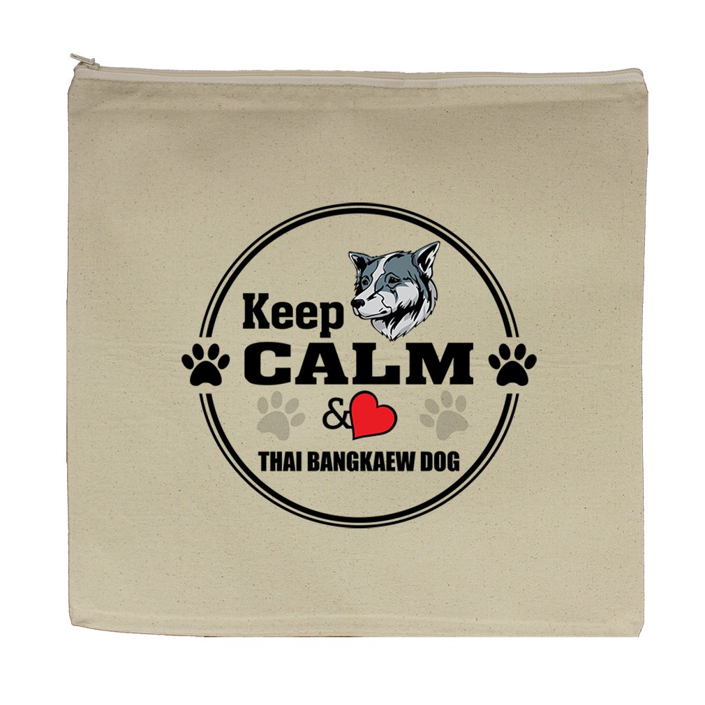 Canvas Zipper Pouch 5.5''X7.5'' Keep Calm Love Thai Bangkaew Dogdog Style In Print by Style in Print