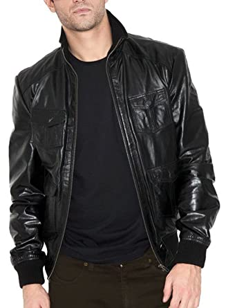 Men Leather Jacket New Soft Cow Leather Slim Biker Bomber Coat LTC1489 XS Black
