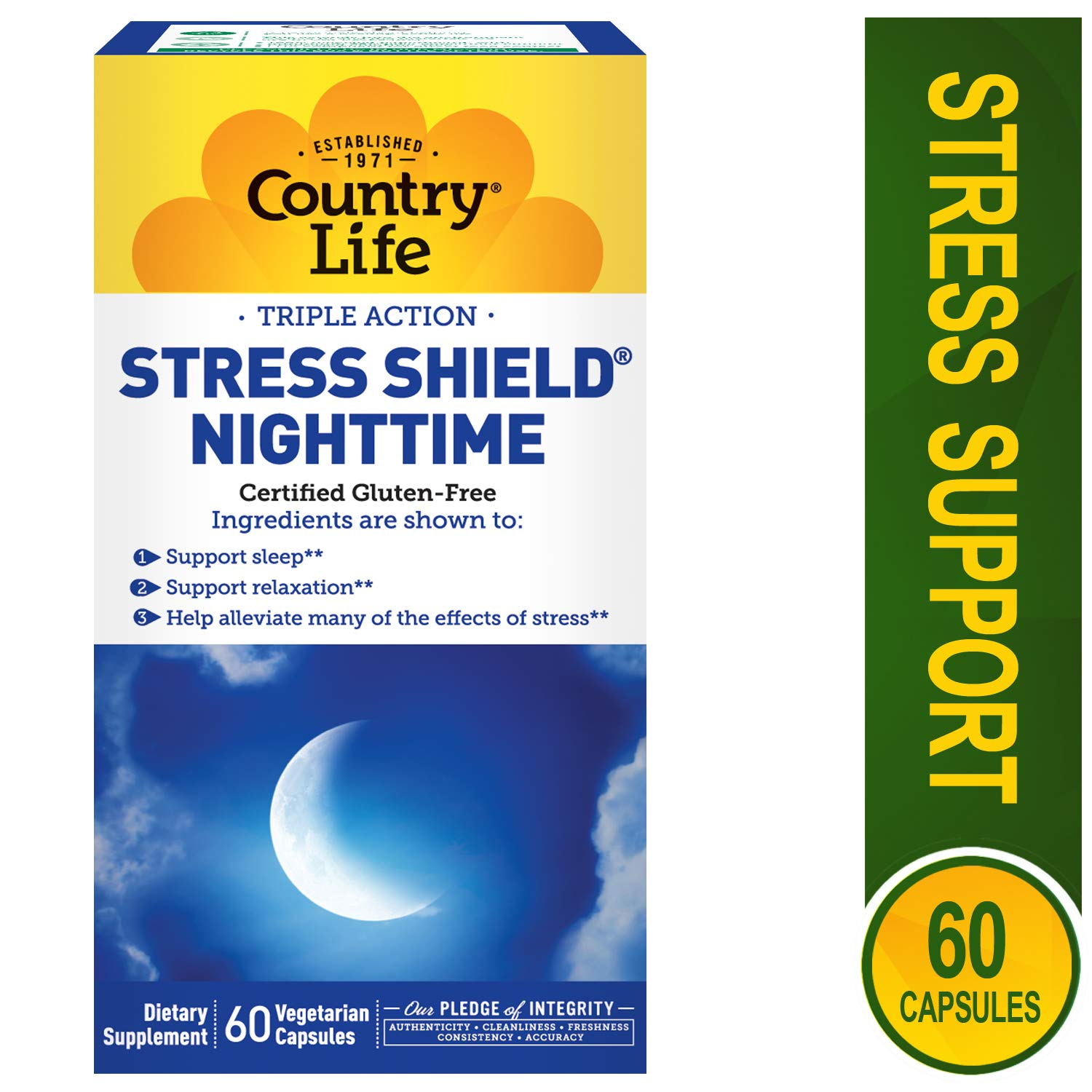 COUNTRY LIFE Vitamins Stress Shield,Nighttime, 60 VCAP Pack of 2