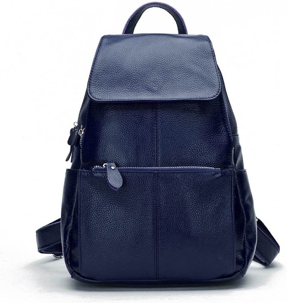 15 Colors Real Soft Leather Women Backpack Fashion Ladies Travel Bag Preppy Style Schoolbags For Girls (Dark Blue)