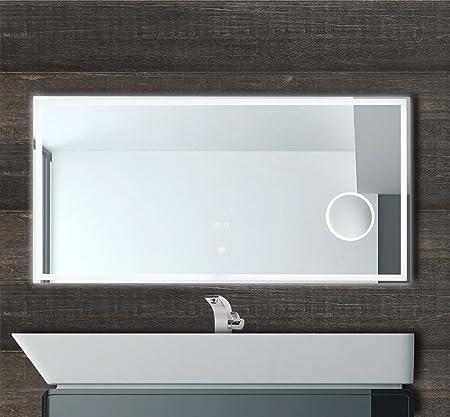 Badezimmerspiegel 120 Cm.120cm Breit Led Badspiegel Wandspiegel Mit Led Beleuchtung Uhranzeige Schminkspiegel Und Innovativem Touch Schalter Freuchtraum Geeignet 6400k Kaltweiss Amazon De Kuche Haushalt
