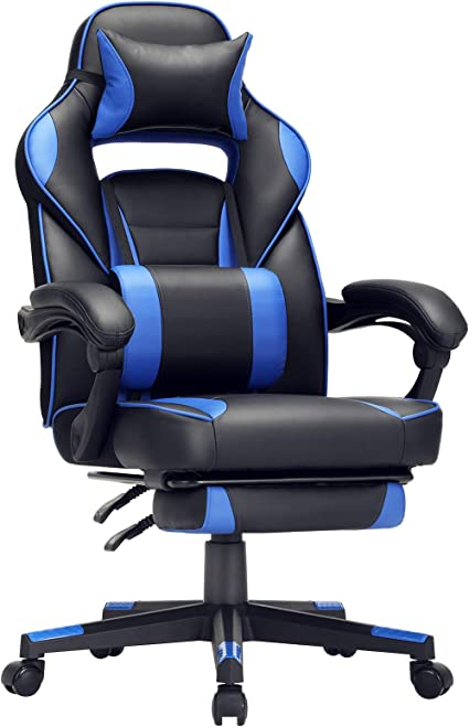 Sedia ergonomica da ufficio computer con poggiapiedi telescopico, schienale regolabile, poggiatesta e supporto OBG073B04