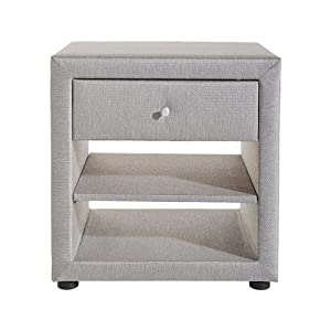 Grey Colour Modern Rectangle top Bedside Table with 2 Open Shelves & 1 Drawer - Yucad