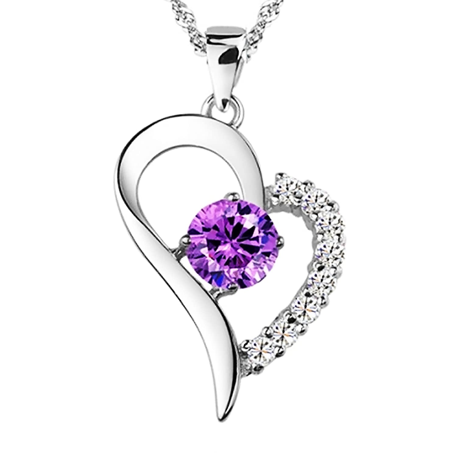 heart detail pendant necklace amethyst shape buy hot womens product purple crystal rocks chain sale shaped