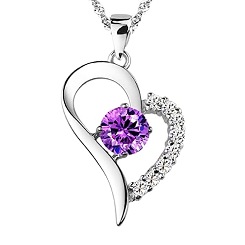 You Are the Only One in My Heart Purple Sterling Silver Pendant Necklace