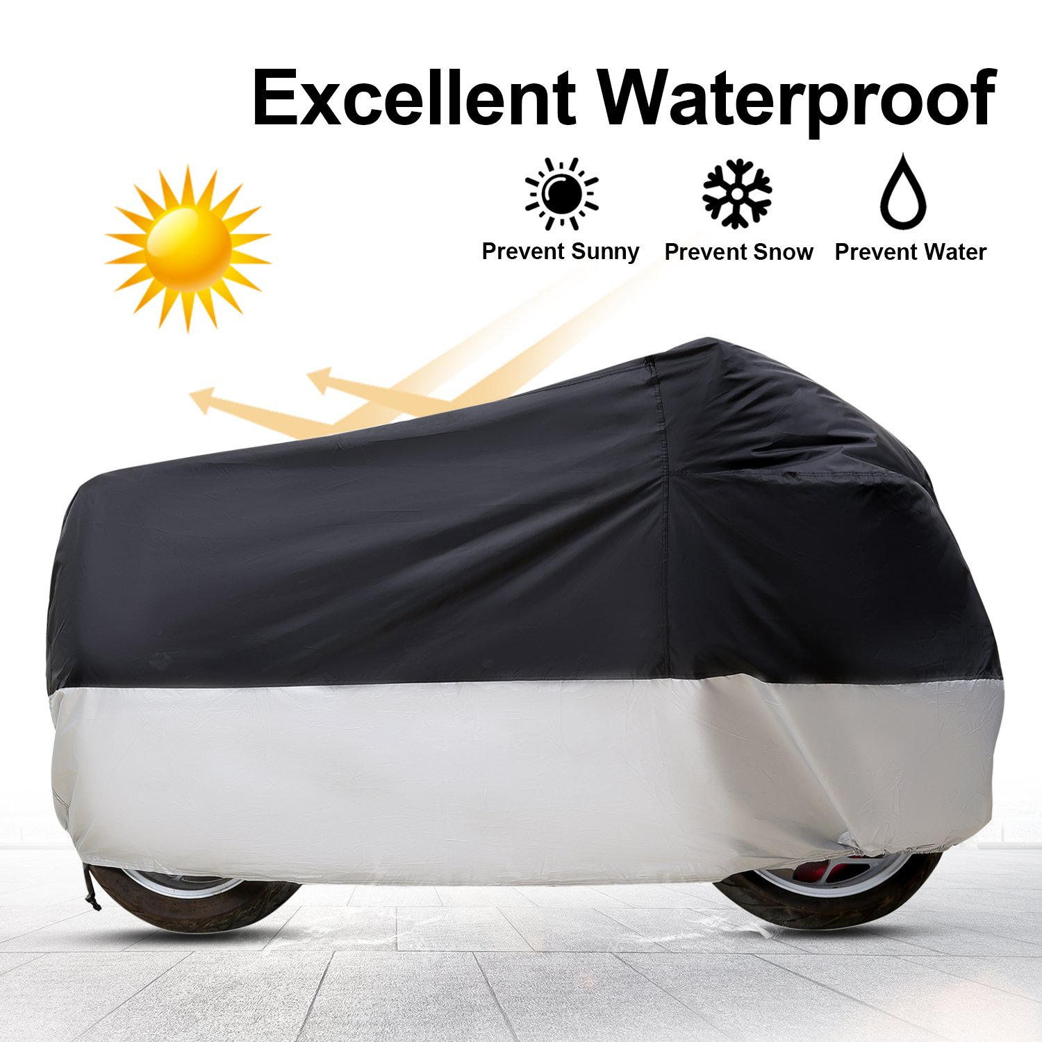 Eleloveph Motorcycle Cover - All Season Waterproof Outdoor Protection - Precision Fit for Tour Bikes, Choppers and Cruisers Protect Against Dust,Rain,Snow and Sun (XXXXL-116''x43''x55'', Black&Sliver) by Eleloveph (Image #2)