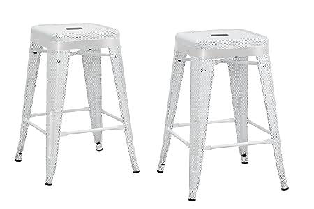 DHP Nova Metal Mesh Backless Counter Stool Set of 2 , 24 , White