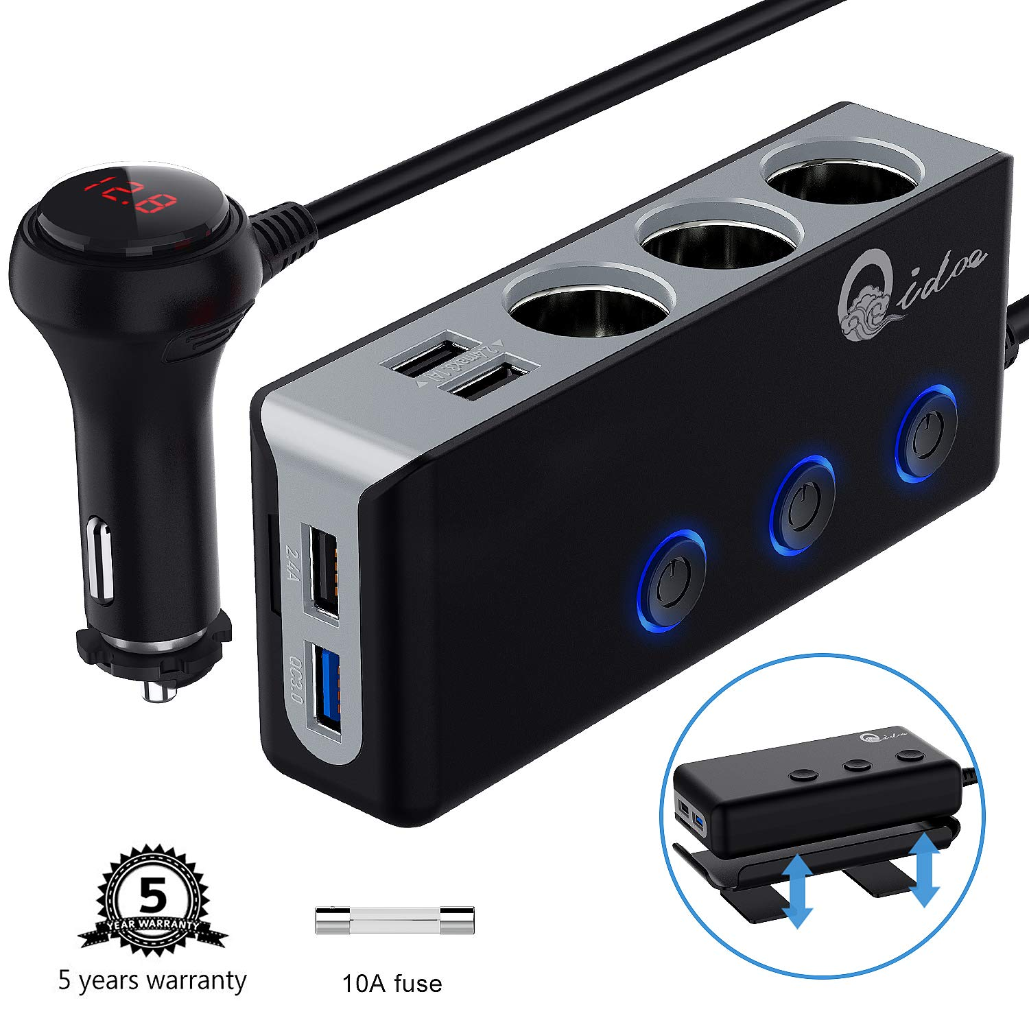 120W Car Charger, Qidoe 12V/24V 3-Socket Cigarette Lighter Splitter Quick Charge 3.0 and Three 2.4A USB Outlet with Voltmeter Power Switch for for GPS, Dash Cam, Sat Nav, Phone, Android, iPad, Tablet by Qidoe