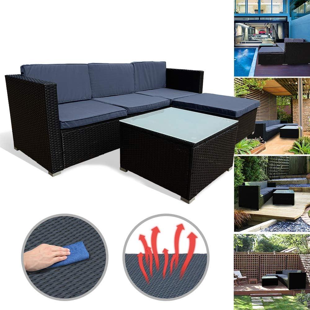 per Giardino Set mobili da Giardino in Rattan e polyrattan LeMeiZhiJia 4 Persone 1 Tavolo con Piano in Vetro e Cuscino per Lo Schienale Colore: Antracite comprensivo di 1 Panca e 2 sedie