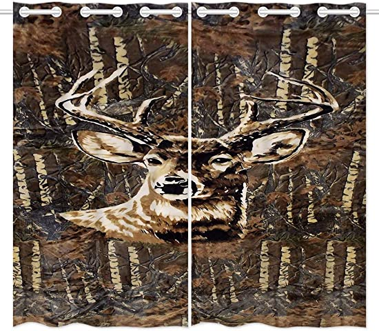 HommomH 42 x 63 inch Curtains 2 Panel Grommet Top Darkening Blackout Room Deer Camo Camouflage - a good cheap window curtain panel