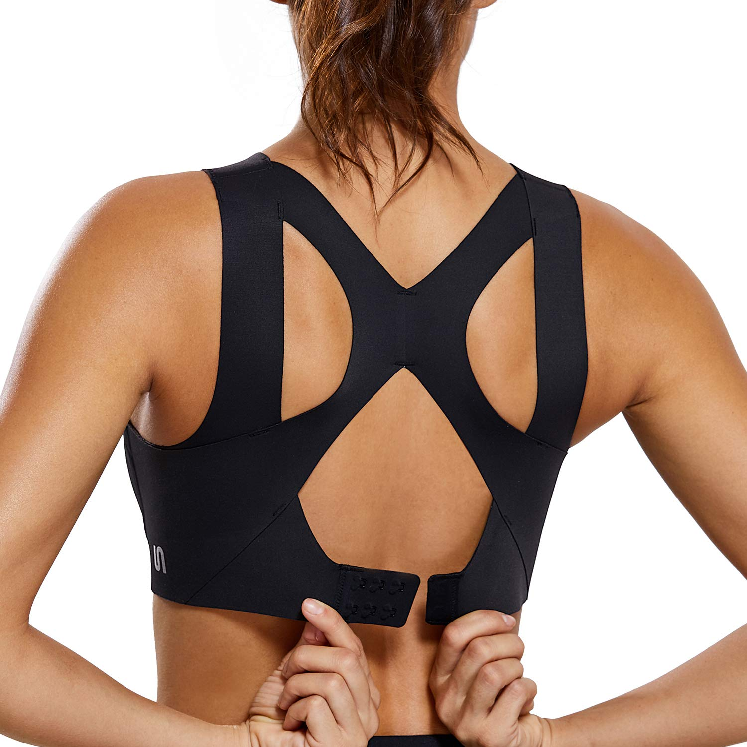 SYROKAN Women's High Impact Seamless Racerback Wirefree Sports Running Bra with Built-in Cups Black 36D by SYROKAN