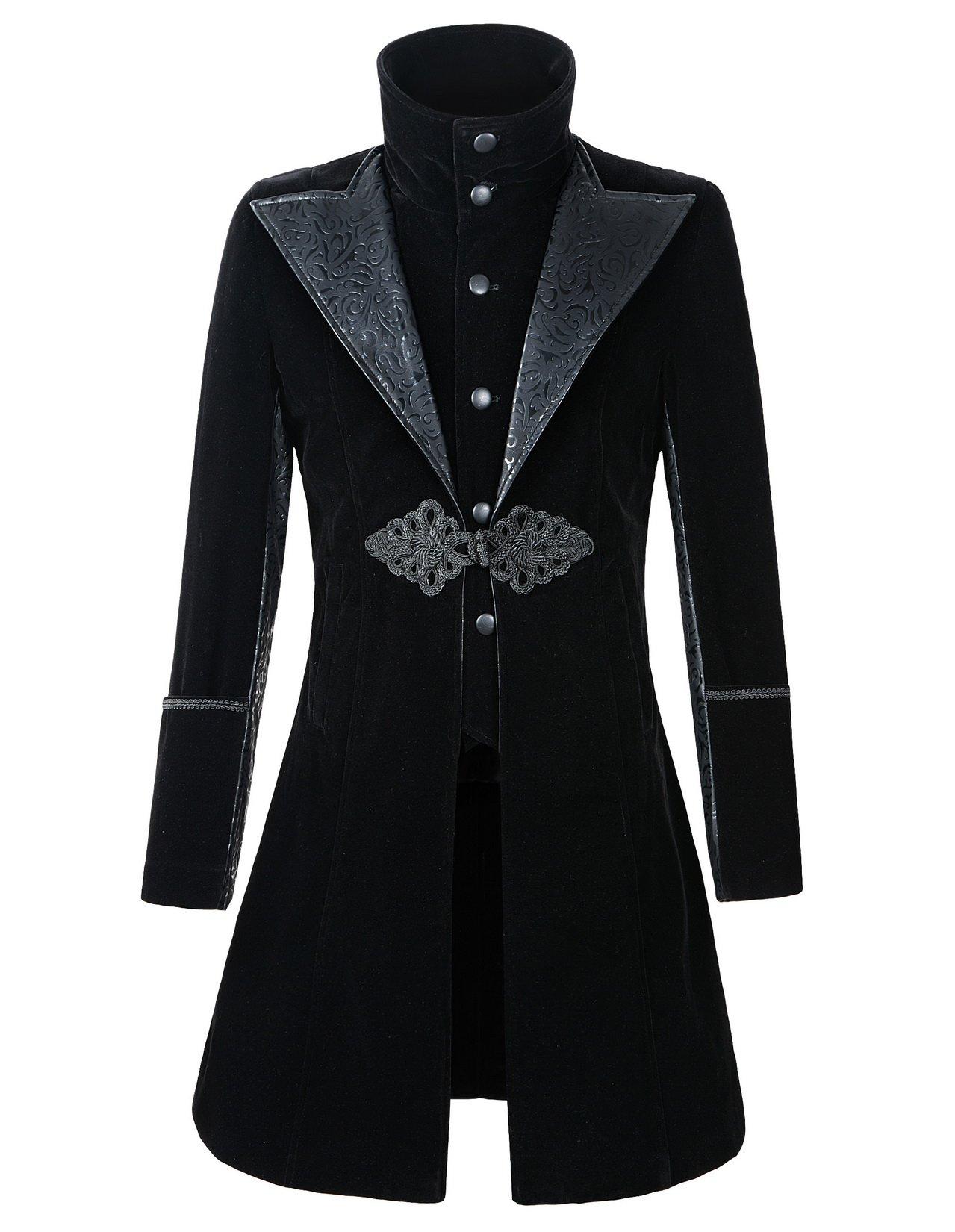 DarcChic Mens Velvet Gothic Leather-Lapel Trench Coat Steampunk Victorian 3
