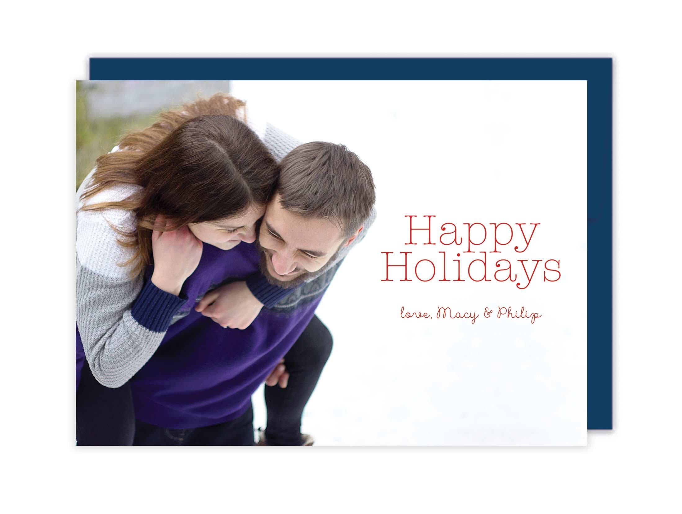 Letterpress Photo Christmas Cards - Happy Holidays