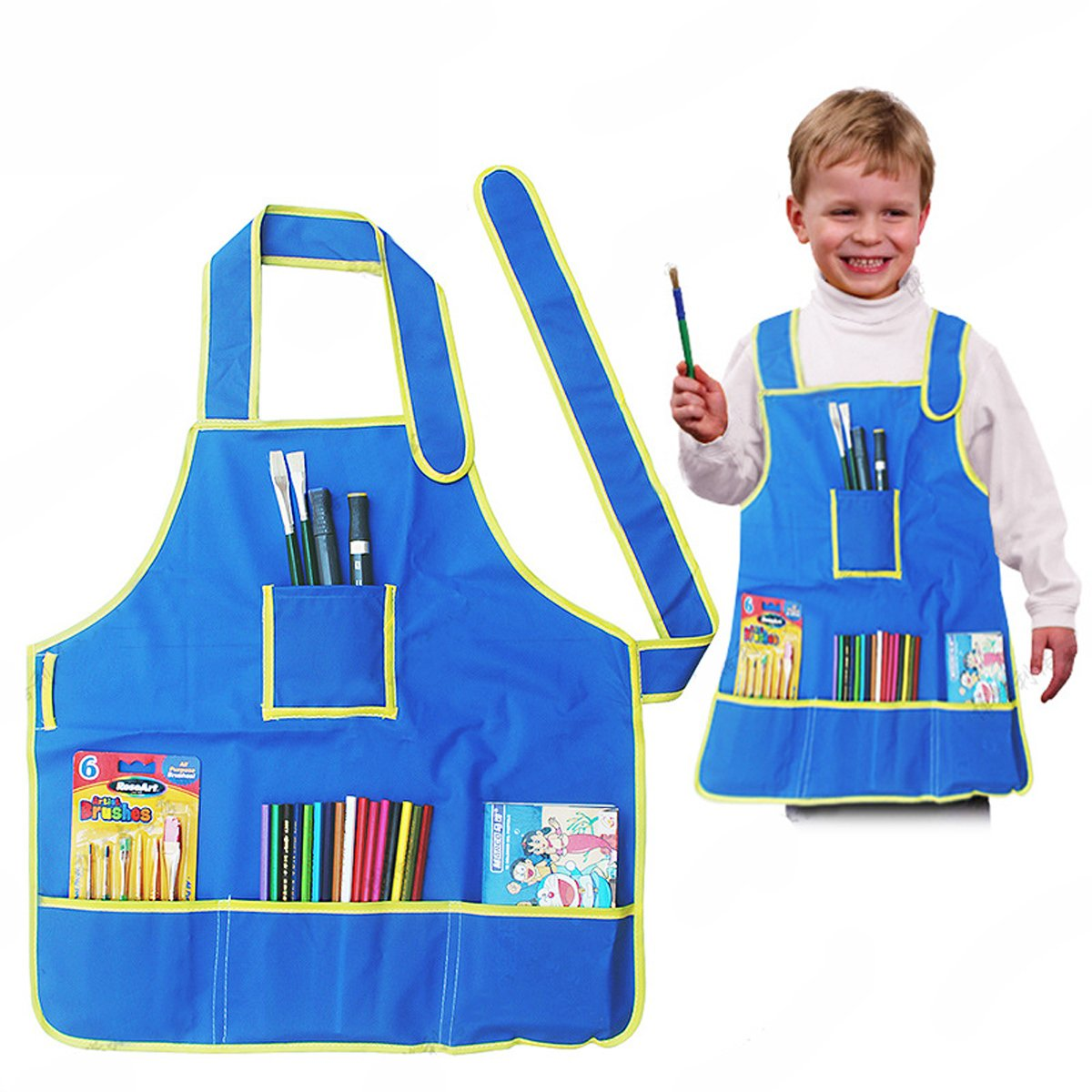 Sayeec Children's Artists Fabric Aprons Waterproof Safe Clean Sleeveless Aprons Painting Aprons with Pockets for Kitchen Classroom Community Event Crafts & Art Painting Activity