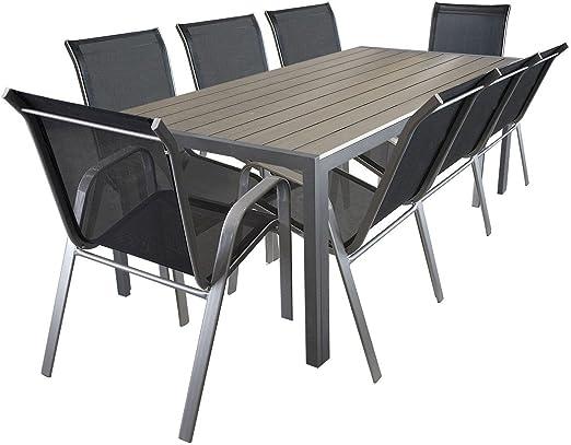 LD Mobiliario de jardín Aluminio polywood Mesa 205 x 90 cm Sillas ...