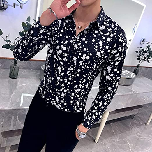 CSDM Camisa de Hombre Nueva Camisa de Moda de los Hombres de la Tela Escocesa Impresa de Manga Larga Camisas Casuales Hombre Blusa Blanca Negra Hombre Vestido elástico Slim fit Camisa de