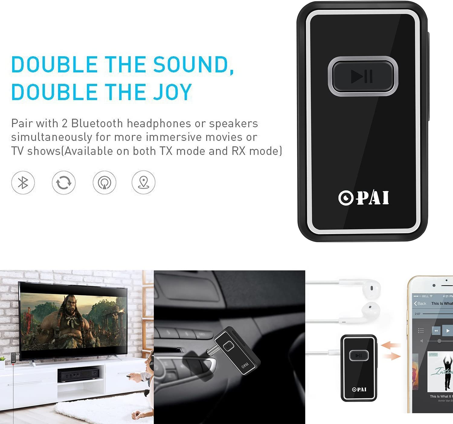 Wireless Bluetooth Receiver OPAI Portable Bluetooth 4.1 Car Adapter /& Bluetooth Car Aux Adapter for Music Streaming Sound System Hands-free Audio Adapter /& Car Kits for Home//Car Audio Stereo System