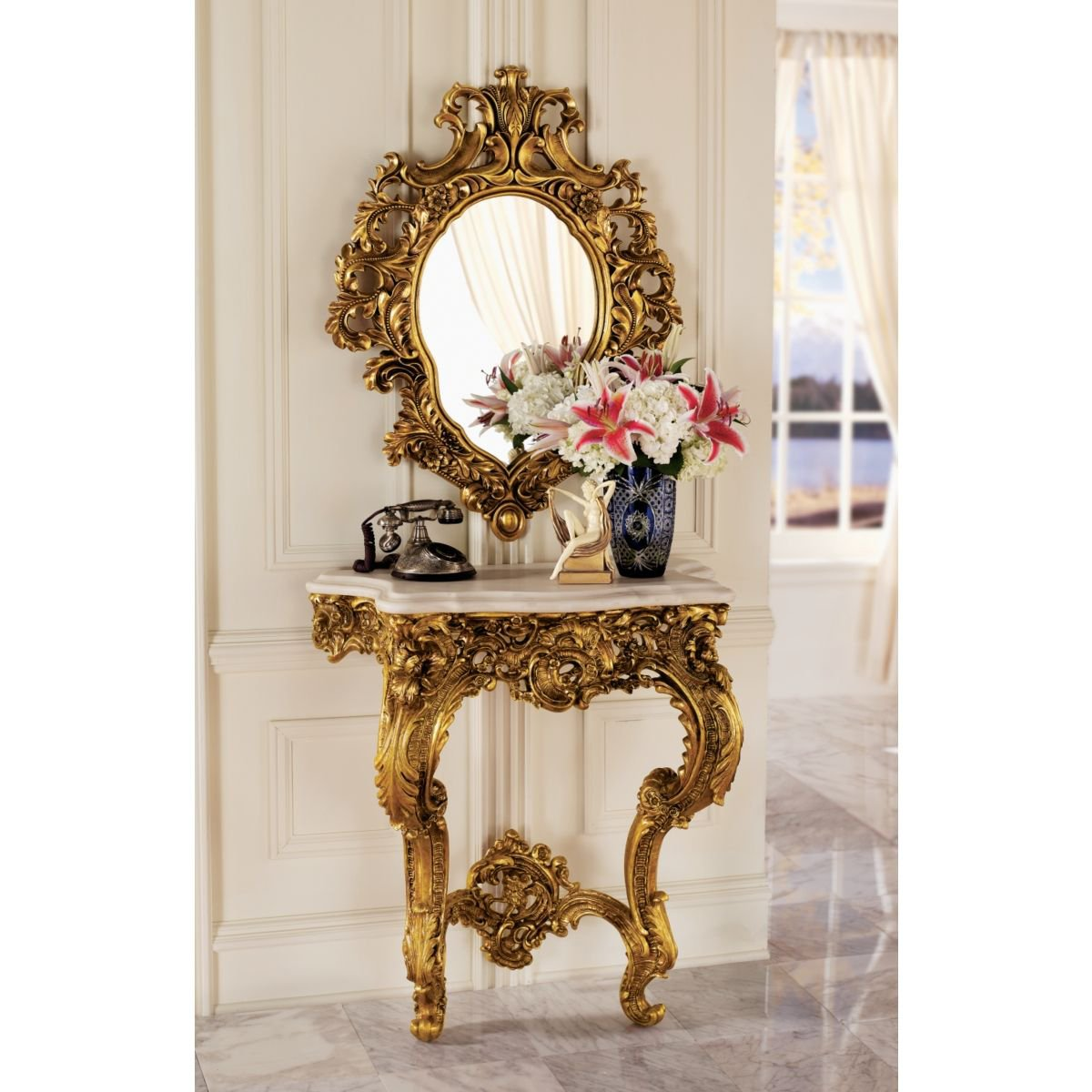 Amazon.com Design Toscano Madame Antoinette Wall Console Table and Salon Mirror Set Kitchen u0026 Dining  sc 1 st  Amazon.com : console table sets - Pezcame.Com