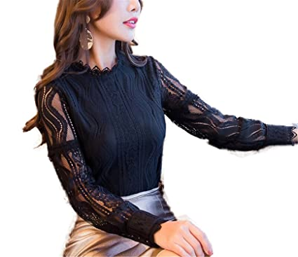 OUXIANGJU Women New Fashion Spring Lace Long Sleeve Hollow Out Blusas Plus Size Shirts