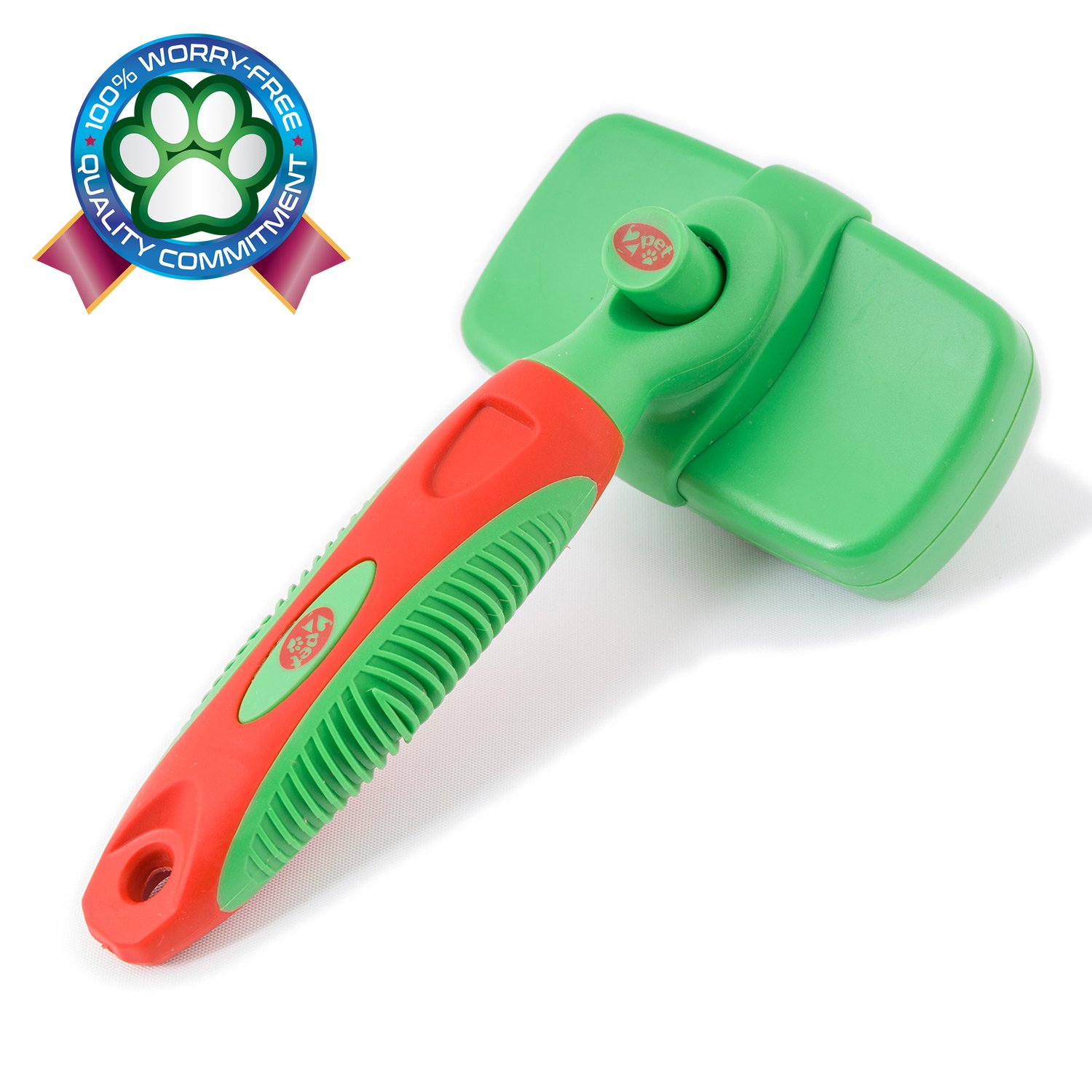 2PET KNOTS AWAY Slicker Brush – Self Cleaning Dog Brush for Medium to Long Hair – Dog Brush for All Sizes & Breeds to Remove Mats & Tangles, Reduce Shedding. Guardian Green - Select your size.