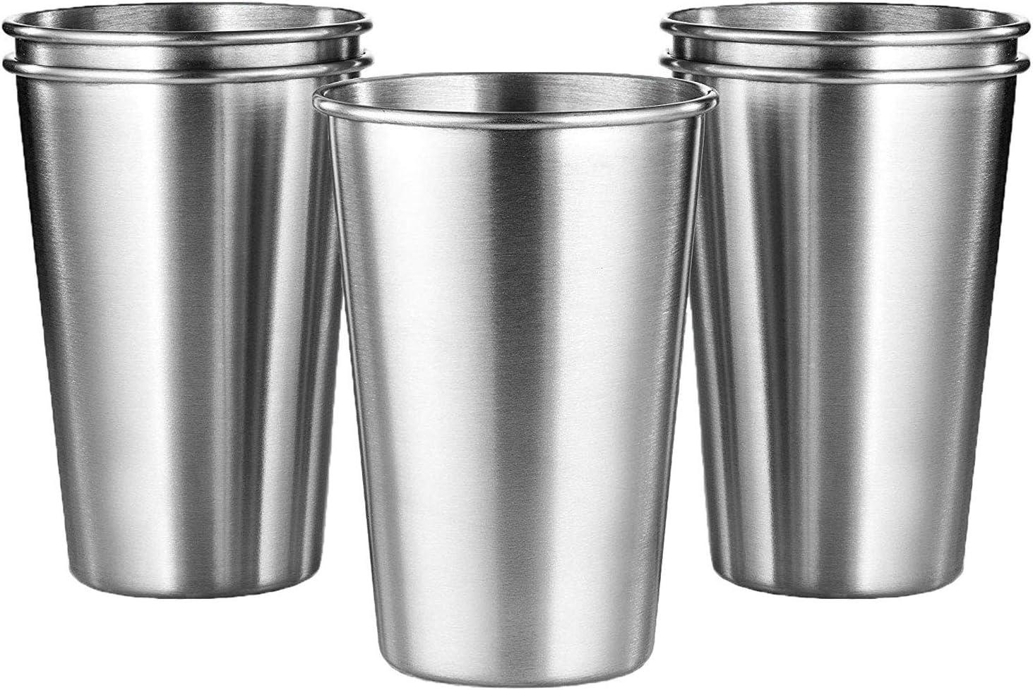 KISEER 5 Pack 16 Ounce Stainless Steel Pint Cups Shatterproof Cup Tumblers Unbreakable Metal Beer Drinking Glasses for Bar, Home, Restaurant