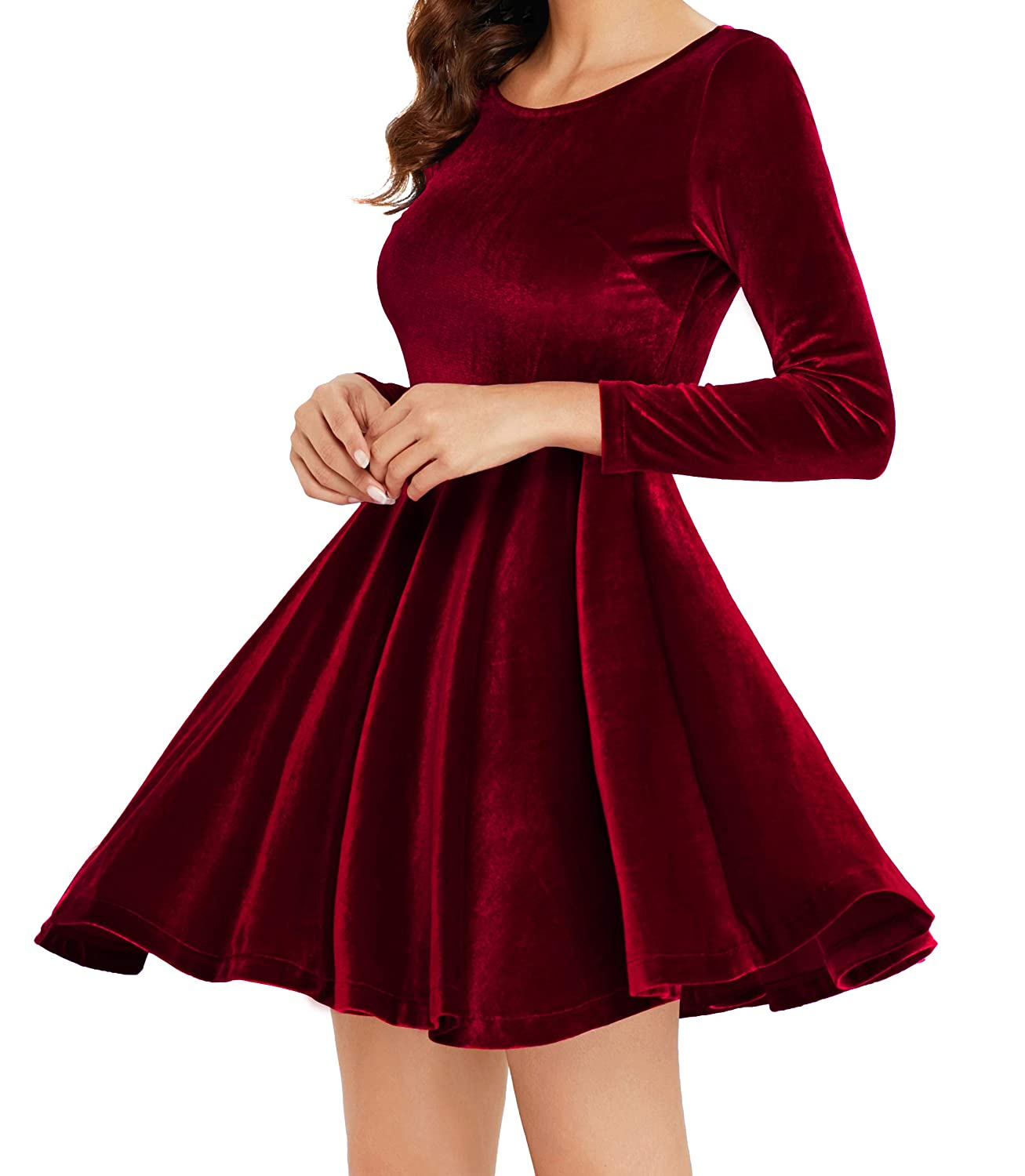 b19d12e4427 Annigo Women s Red Velvet Mini Fit and Flared Cocktail Dresses with  Sleeve