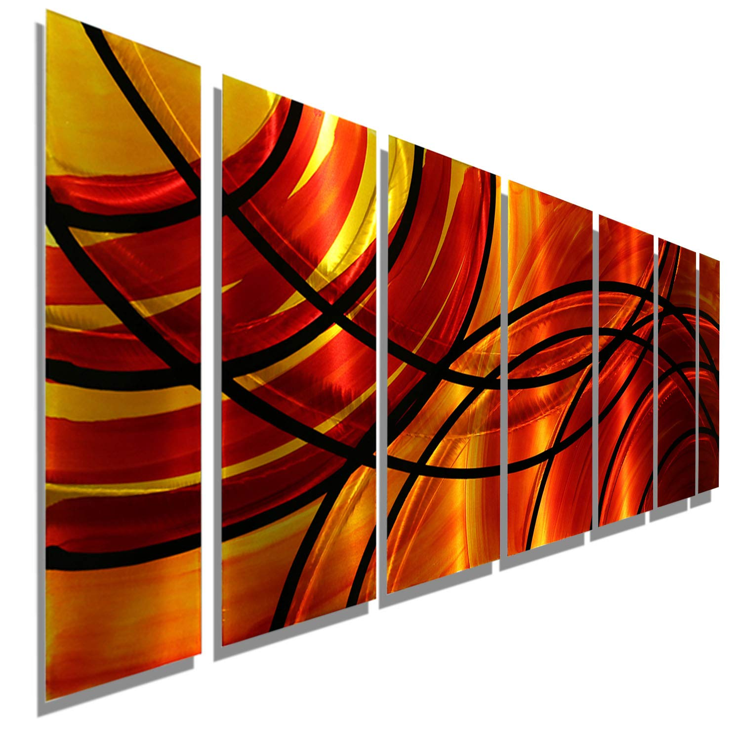 Red Orange Gold Black Abstract Metal Wall Art Painting Contemporary Handcrafted Home Decor Art Sculpture Bound By Fire By Jon Allen