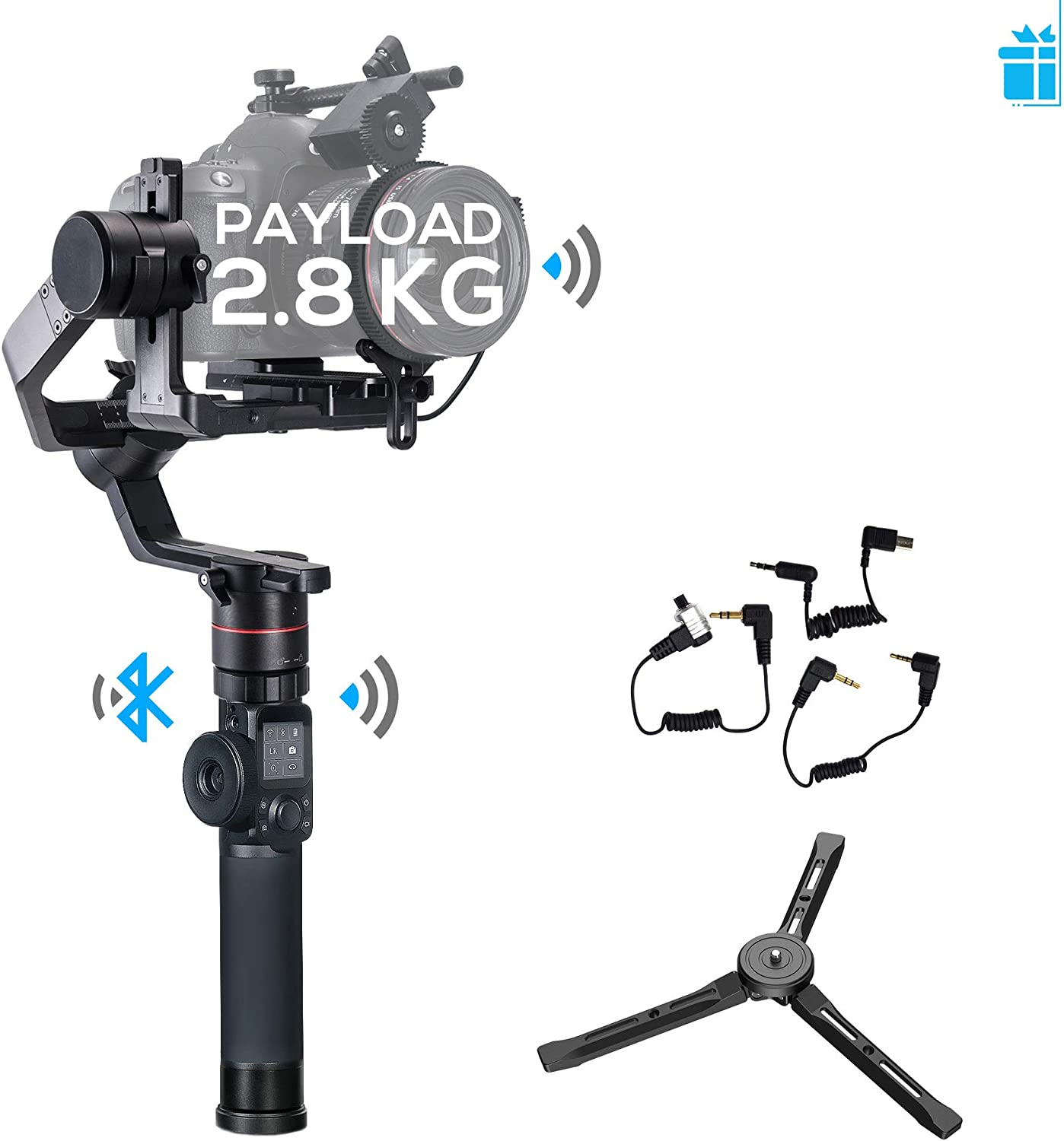 FeiyuTech Feiyu AK2000 3-Axis Handheld Gimbal Stabilizer with LCD Touch Panel Compatible with Canon/Panasonic/Sony/Nikon Cameras, MAX Payload 6.17 LB, M4 Kernel MCU
