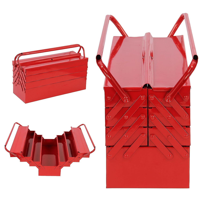 AllRight Heavy Duty Metal Tool Box 4 Tier 7 Tray Cantilever Toolbox(7 Tray) Red OEM