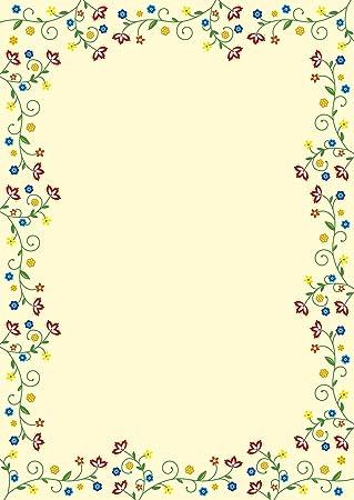 50 Feuilles Papier à Lettre Papier à Motif Fleurs Colorées Style
