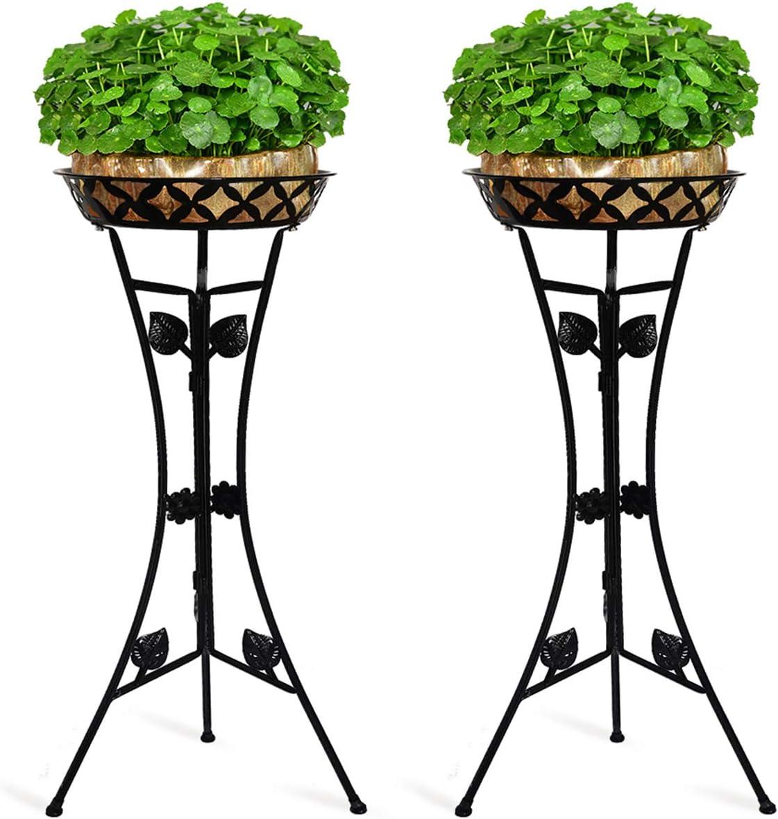 JzNova 2 Pack Metal Tall Plant Stand, Flower Pot Raised Holder, Iron Art Triangle Support Planter Holders, Outdoor & Indoor Elegant Corner Decorative Display Rack, Mordern Planter Container, Black