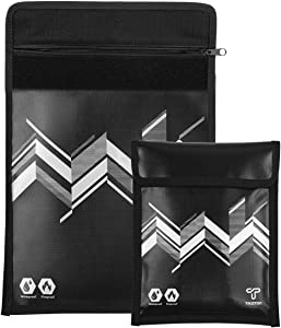 Fireproof Document Bags Water Resistant Protects Important Documents,Cash and Jewelry from Water and Fire Damages (L+M)