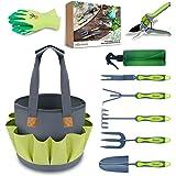Hortem Garden Tools Set for Women Men, Durable Garden Hand Tools Include Trowel, Cultivator, Rake, Weeder, Pruner, Garden Tot