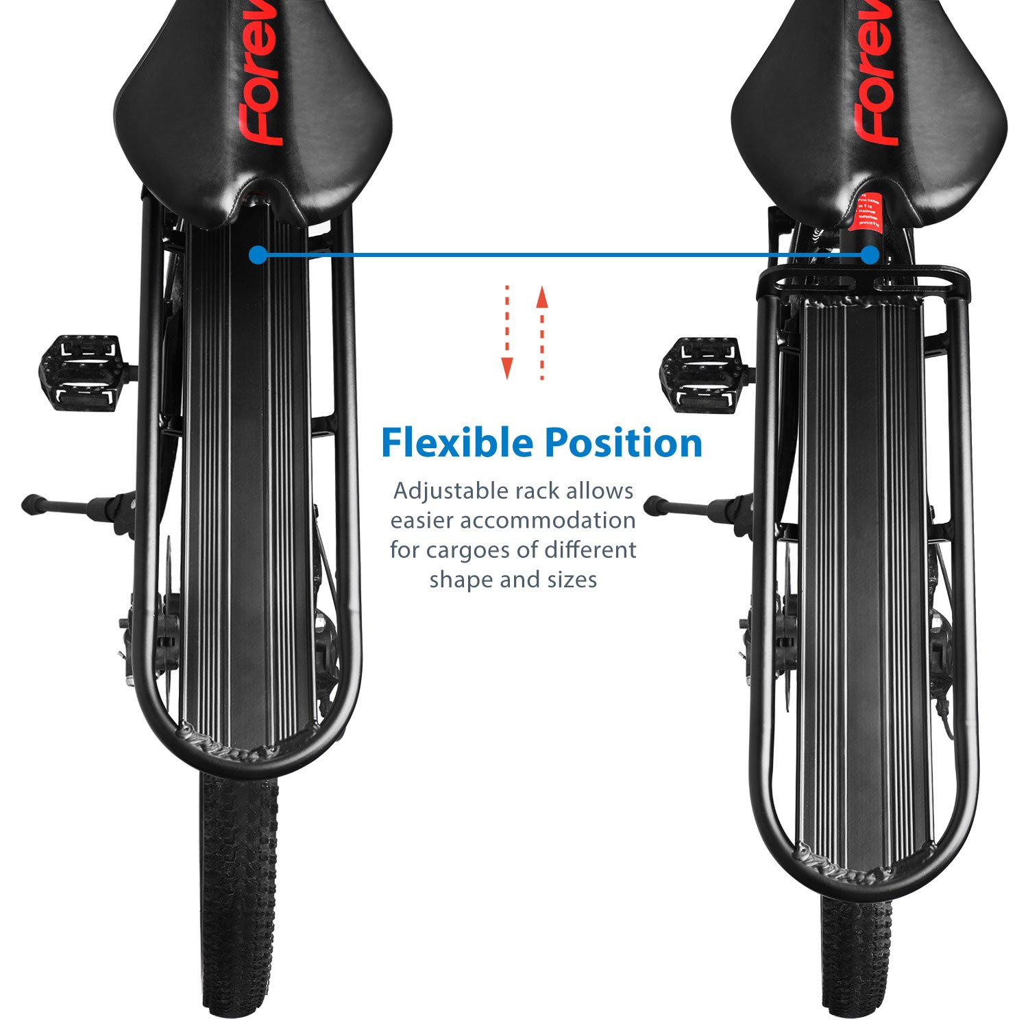 Flexzion Adjustable Bike Cargo Rack, Universal Extendable Aluminum Seat Post Rear Carrier Bicycle Touring Mount for Heavy Luggage Saddle Equipment Gear, Black by Flexzion (Image #5)