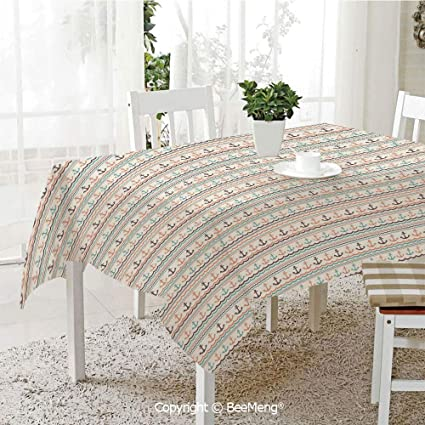 BeeMeng Large Family Picnic Tablecloth,Easy to Carry Outdoors,Anchor,Wavy  Lines Little Dots and Stripes Border Pattern Marine Travel Voyage ...