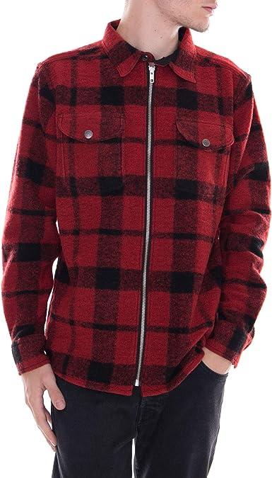 Lee - Camisa - Zip Overshirt Warp - Rojo: Amazon.es: Ropa y ...