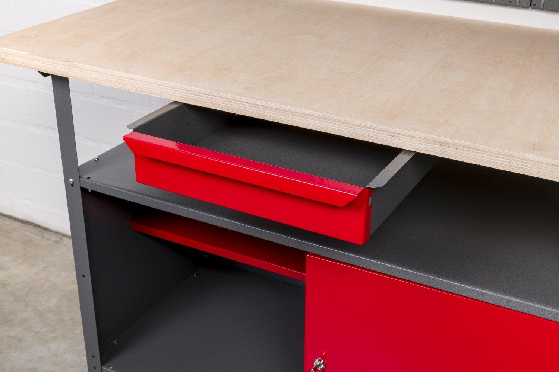 120 x 60 x 85 cm. Ma/ße pro Tisch BxTxH ca Kreher Werkbank Set 2tlg mit 2 Werkb/änken aus Metall Einlegeboden und Gewindef/ü/ßen Jeder Werktisch mit abschlie/ßbarer T/ür Schublade