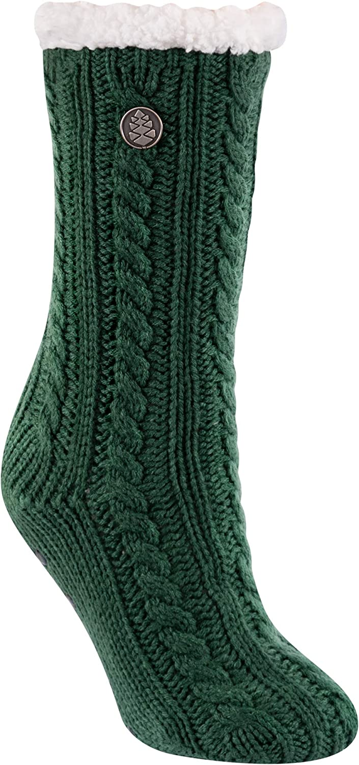 TCK Brands Miss Chalet Ballet Sherpa Lined Cable Knit Cozy Slipper Sock