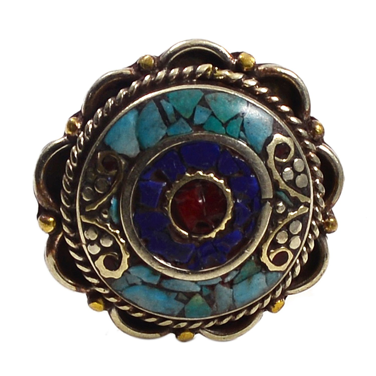 Lapis Lazuli /& Coral Gemstone 925 Silver Plated Ring Sz 9 PG-118134 Saamarth Impex Turquoise