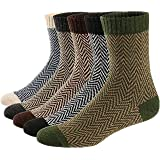Qincos 5 Pares Calcetines de Lana Suave y Cómodo para Invierno y Otoño Calcetines Térmicos Estilo Vintage para Hombre/Mujer