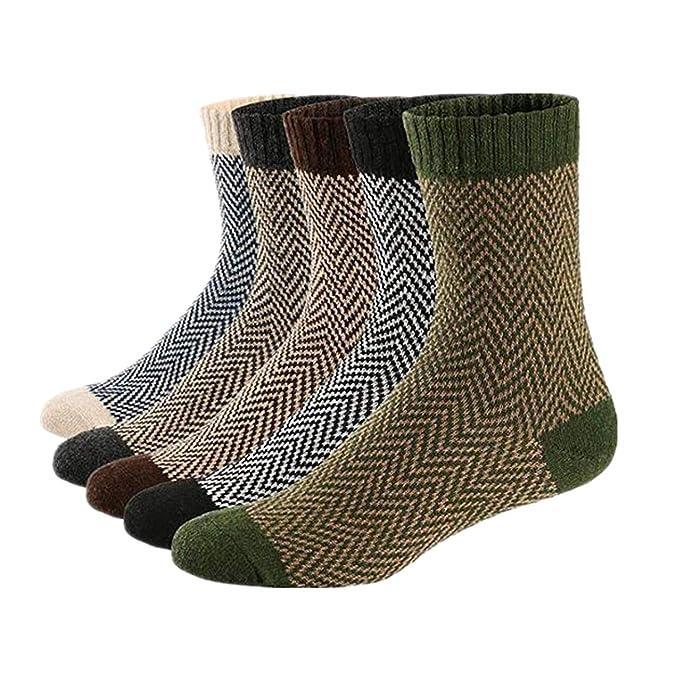 Qincos 5 Pares Calcetines de Lana Suave y Cómodo para Invierno y Otoño Calcetines Térmicos Estilo Vintage para Hombre/Mujer: Amazon.es: Ropa y accesorios