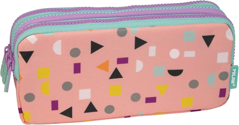 Portatodo 3 cremalleras Happy Bots rosa: Amazon.es: Oficina y papelería