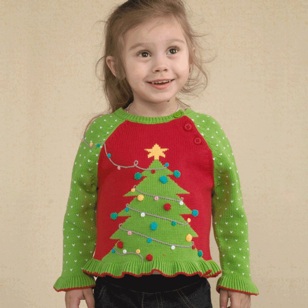 be9966ddf Amazon.com  Zubels Hand Knit Girl s Christmas Tree Sweater  Clothing