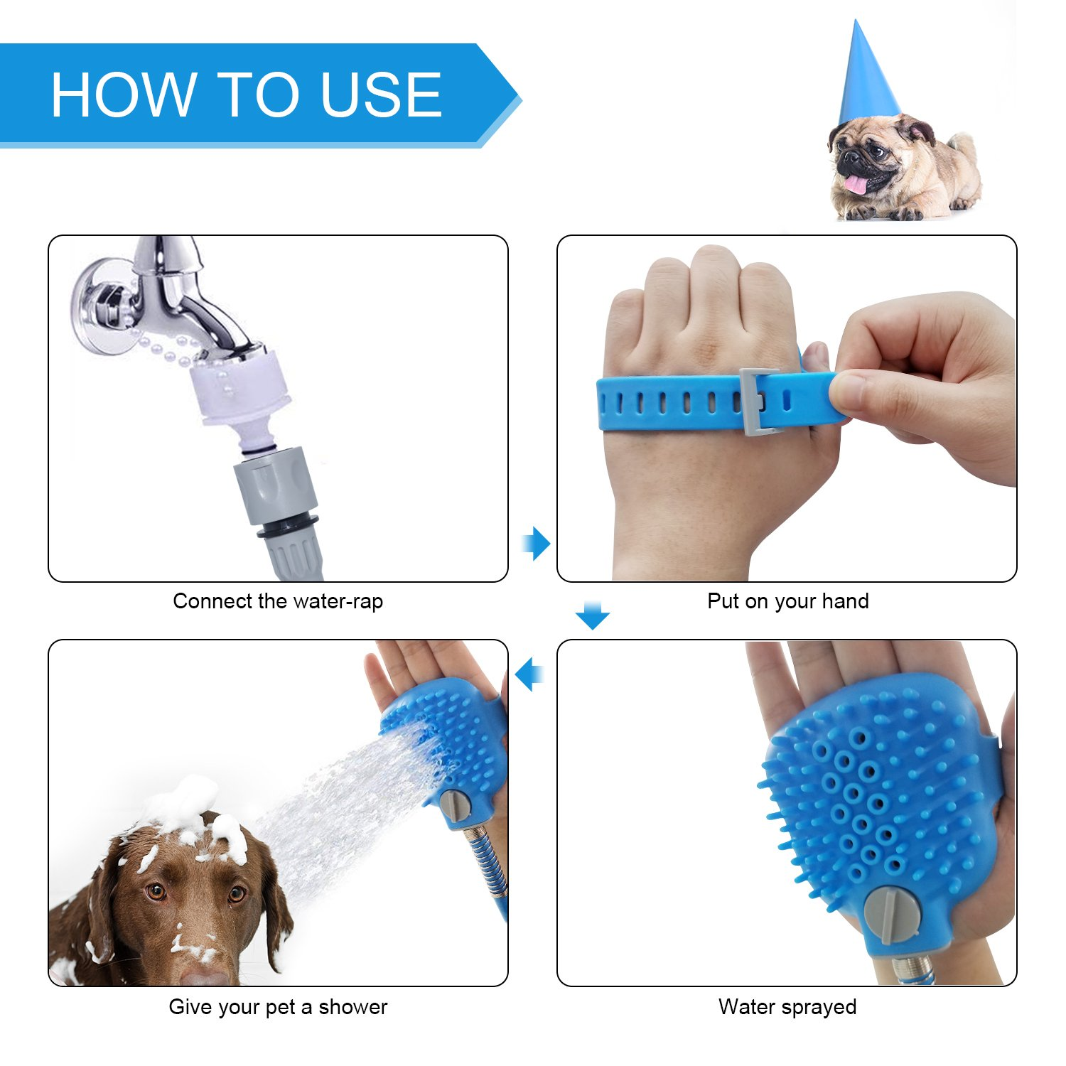 Pet Shower Tool with Nozzle, loveone(TM) Dog Bathing Sprayer with 3 Hose Adapters, Portable Grooming Tools Adjustable Silicone Massage Brush for Dogs/ Cats/ Horses/ Animals Suit for Outdoor/ Indoor by loveone (Image #3)