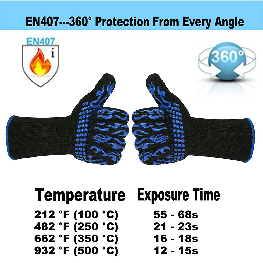 Franktech BBQ Gloves Oven Mitt,Hand Protection from Grilling,Barbeque,Fires,Microwave Oven and Other Hot Work in Kitchen,Outdoor Camping and Garden Party,Heat and Flame Resistant up to 932°F (Blue) by Franktech (Image #4)